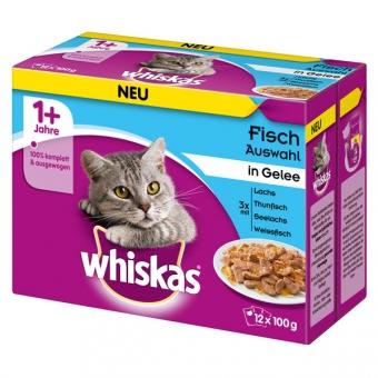Aktion: Whiskas Multipack 1+ Fischauswahl in Gelee 12x100g