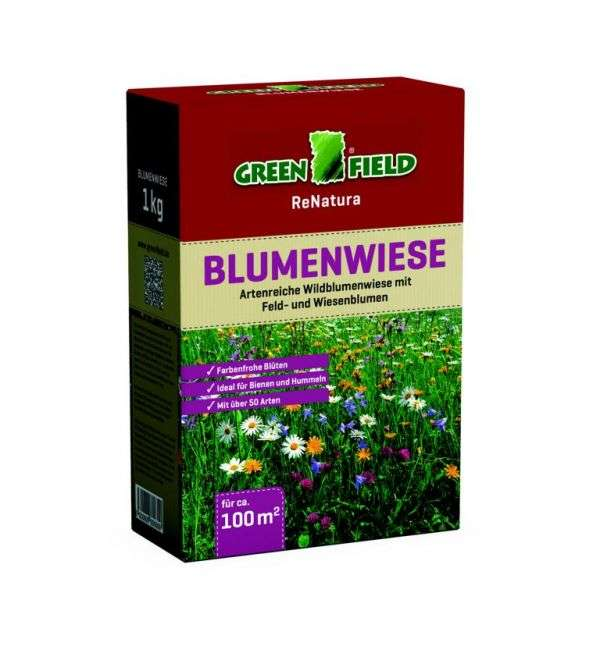greenfield blumenwiese 1 kg faltschachtel wild und naturrasen. Black Bedroom Furniture Sets. Home Design Ideas